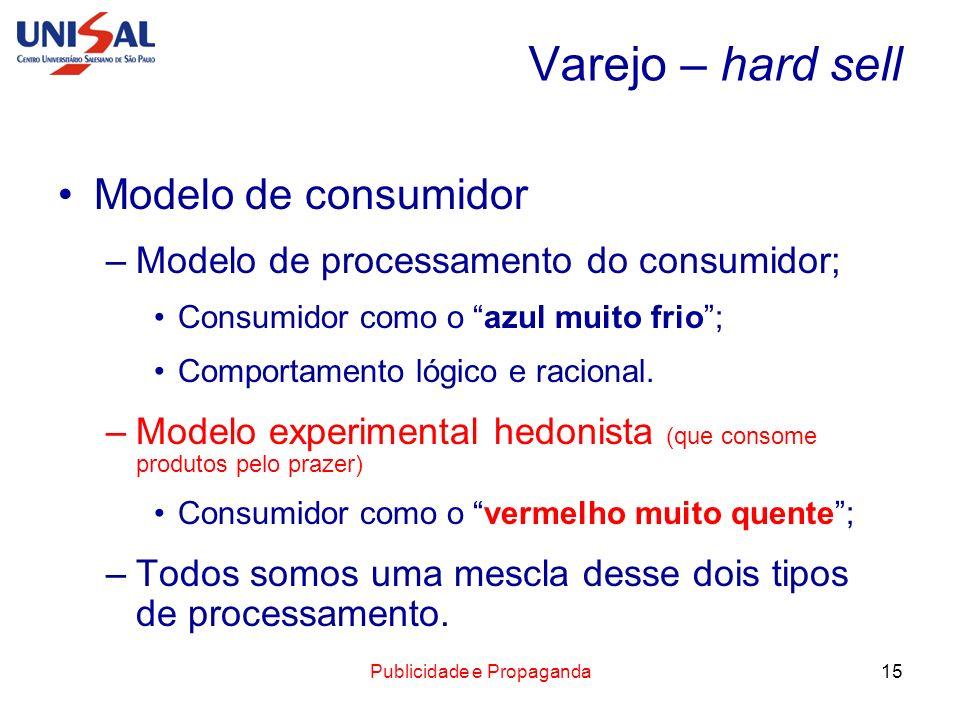 Publicidade e Propaganda15 Varejo – hard sell Modelo de consumidor –Modelo de processamento do consumidor; Consumidor como o azul muito frio; Comporta
