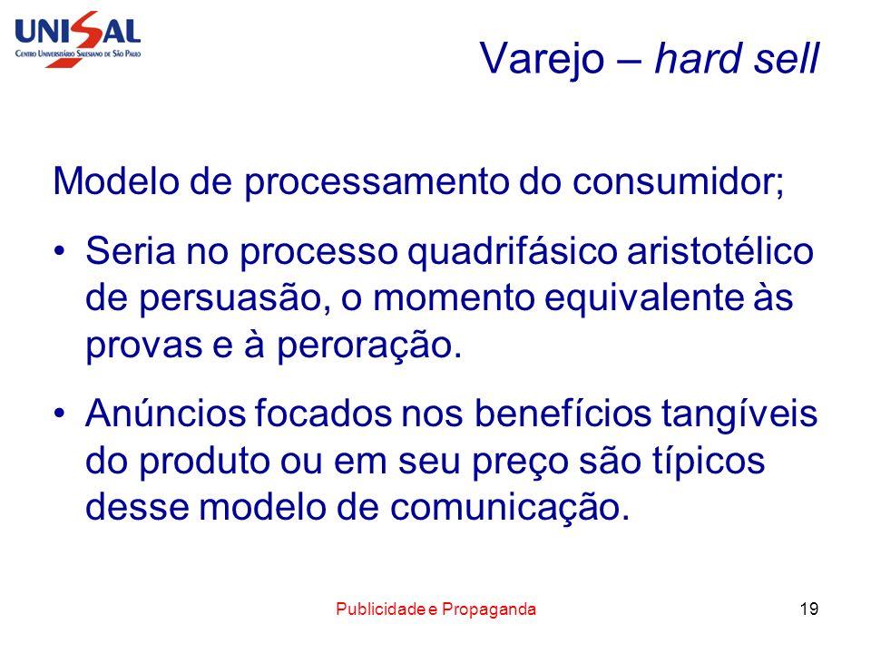 Publicidade e Propaganda19 Varejo – hard sell Modelo de processamento do consumidor; Seria no processo quadrifásico aristotélico de persuasão, o momen
