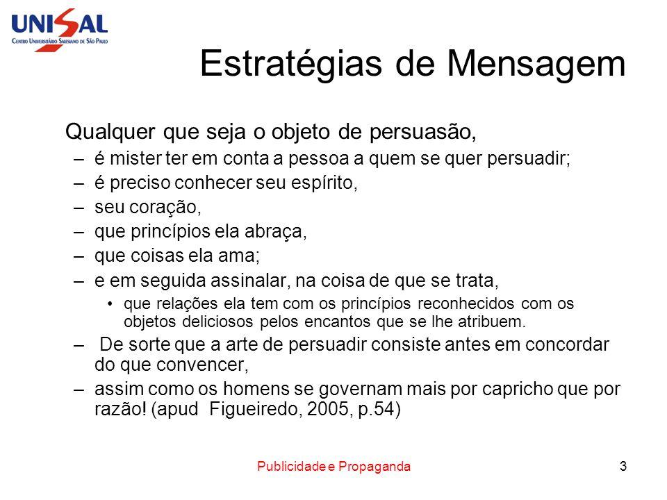Publicidade e Propaganda3 Estratégias de Mensagem Qualquer que seja o objeto de persuasão, –é mister ter em conta a pessoa a quem se quer persuadir; –