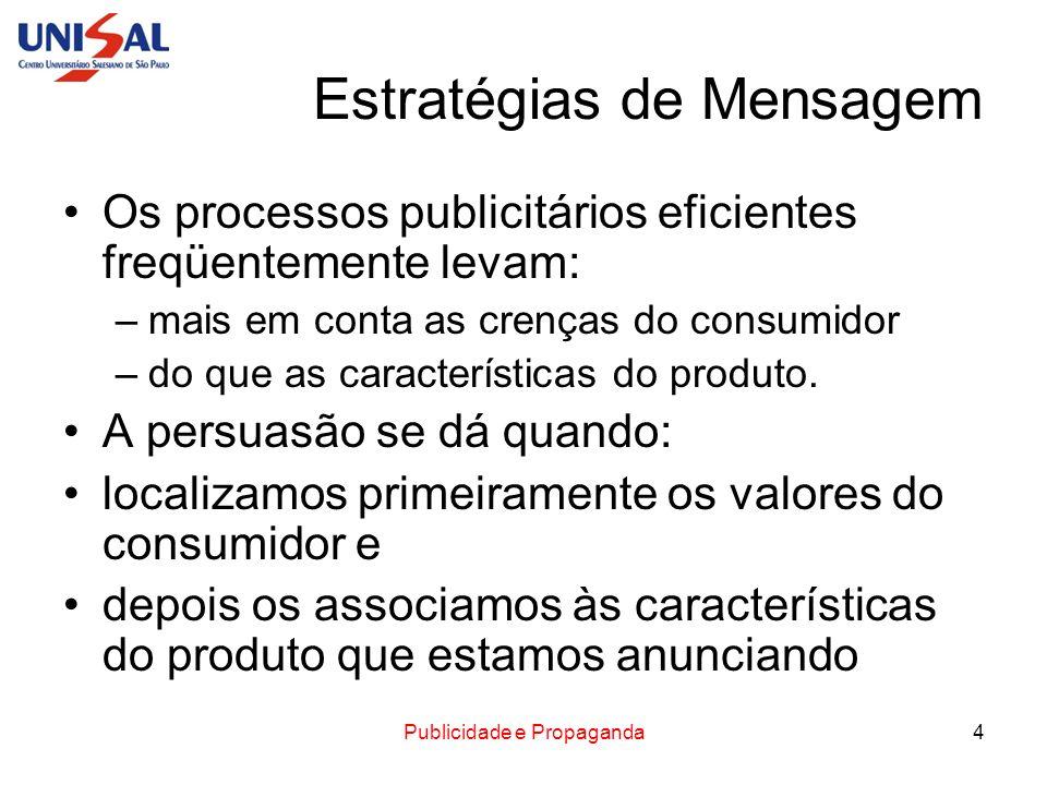 Publicidade e Propaganda4 Estratégias de Mensagem Os processos publicitários eficientes freqüentemente levam: –mais em conta as crenças do consumidor
