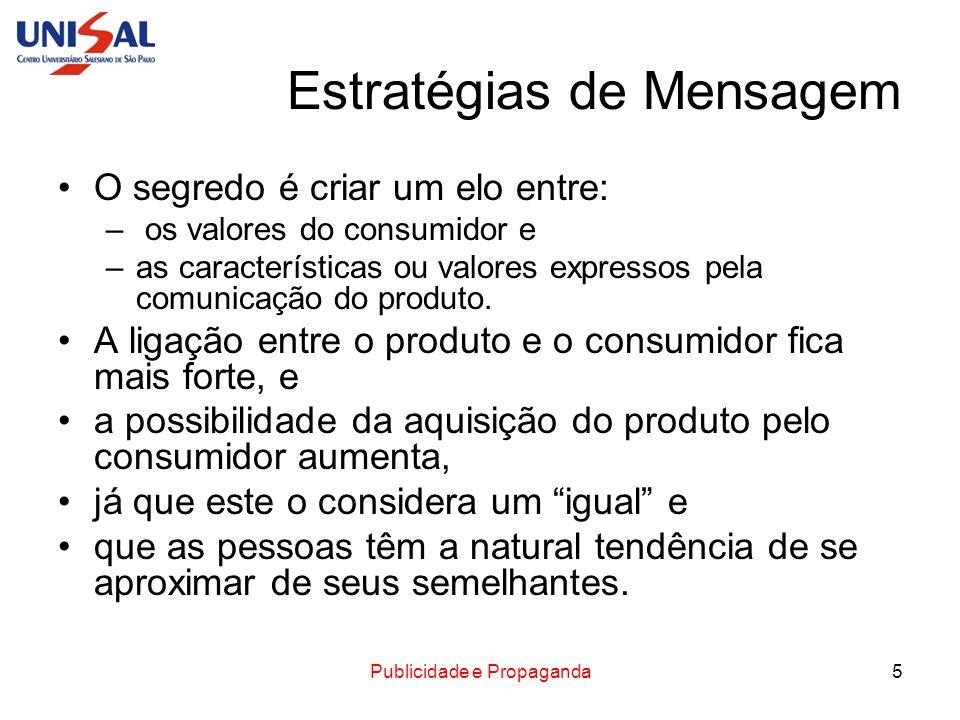Publicidade e Propaganda5 Estratégias de Mensagem O segredo é criar um elo entre: – os valores do consumidor e –as características ou valores expresso