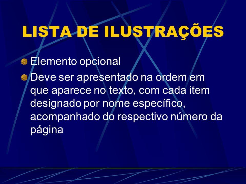 LISTA DE ILUSTRAÇÕES Elemento opcional Deve ser apresentado na ordem em que aparece no texto, com cada item designado por nome específico, acompanhado