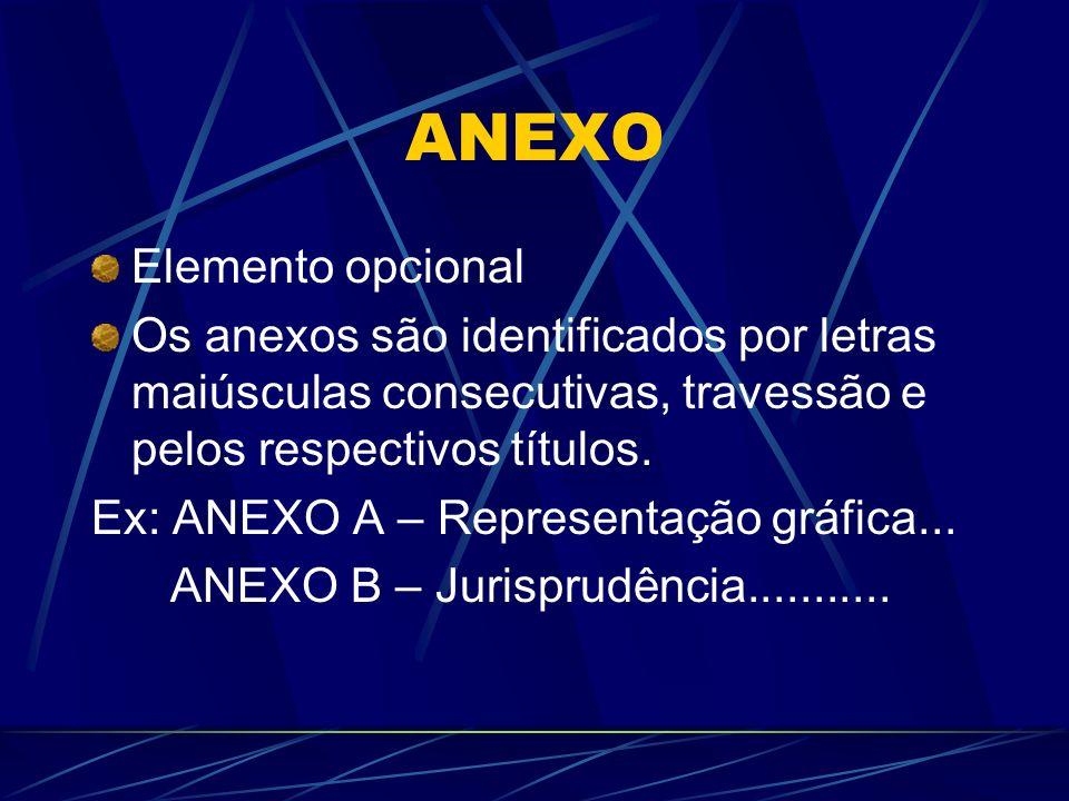 ANEXO Elemento opcional Os anexos são identificados por letras maiúsculas consecutivas, travessão e pelos respectivos títulos. Ex: ANEXO A – Represent