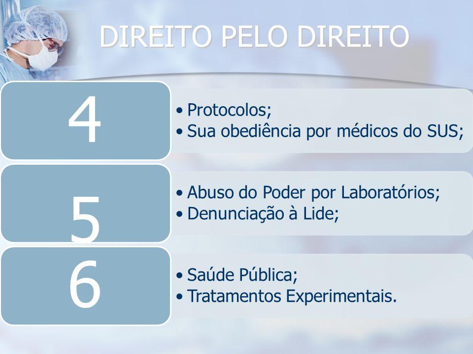 DIREITO PELO DIREITO Protocolos; Sua obediência por médicos do SUS; 4 Abuso do Poder por Laboratórios; Denunciação à Lide; 5 Saúde Pública; Tratamento