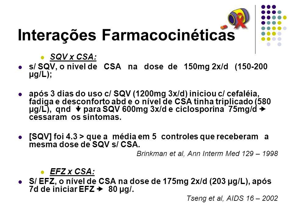 Interações Farmacocinéticas SQV x CSA: s/ SQV, o nivel de CSA na dose de 150mg 2x/d (150-200 µg/L); após 3 dias do uso c/ SQV (1200mg 3x/d) iniciou c/