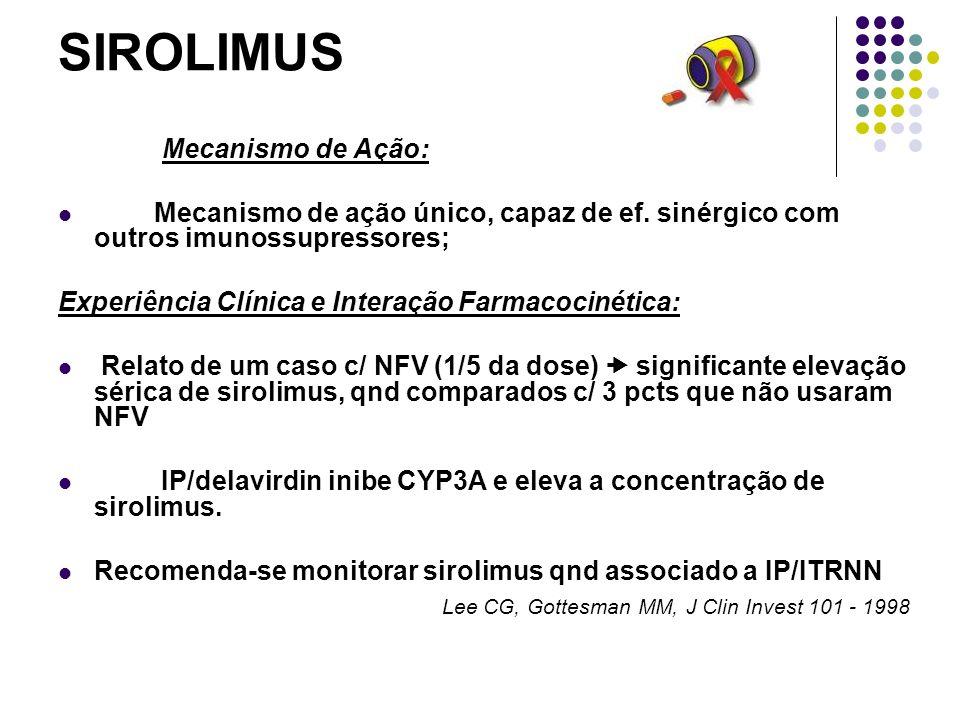 SIROLIMUS Mecanismo de Ação: Mecanismo de ação único, capaz de ef. sinérgico com outros imunossupressores; Experiência Clínica e Interação Farmacociné