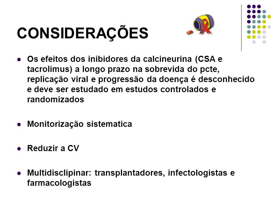 CONSIDERAÇÕES Os efeitos dos inibidores da calcineurina (CSA e tacrolimus) a longo prazo na sobrevida do pcte, replicação viral e progressão da doença