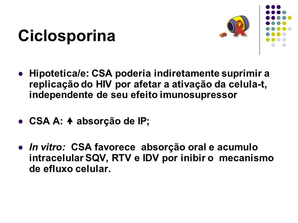 Ciclosporina Hipotetica/e: CSA poderia indiretamente suprimir a replicação do HIV por afetar a ativação da celula-t, independente de seu efeito imunos