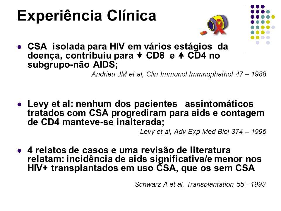 Experiência Clínica Estudos recente: CSA c/ HAART pode oferecer benefícios a longo prazo Estudo prospectivo envolvendo 9 pcts HIV estágio inicial da infecção, CSA nas primeiras 8 semanas do TTO com HAART rápida restauração de CD4 e sem elevação de célula-T total.