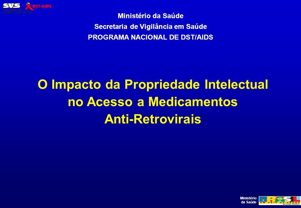 Ministério da Saúde O Impacto da Propriedade Intelectual no Acesso a Medicamentos Anti-Retrovirais Ministério da Saúde Secretaria de Vigilância em Saú