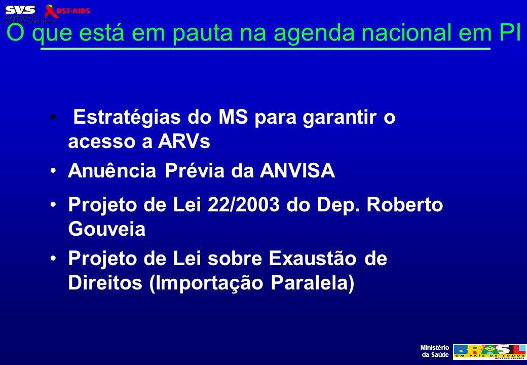 Ministério da Saúde O que está em pauta na agenda nacional em PI Estratégias do MS para garantir o acesso a ARVs Anuência Prévia da ANVISA Projeto de