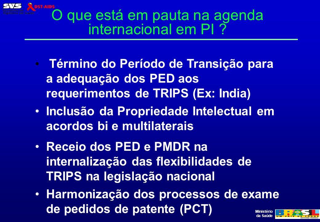 Ministério da Saúde O que está em pauta na agenda internacional em PI ? Término do Período de Transição para a adequação dos PED aos requerimentos de