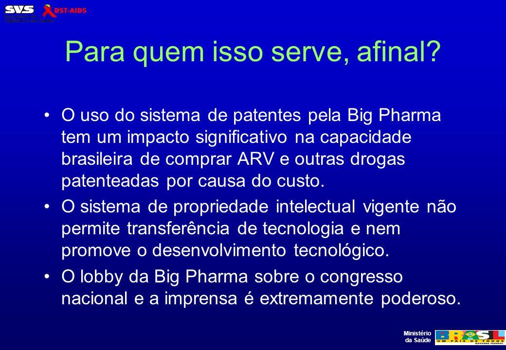 Ministério da Saúde Para quem isso serve, afinal? O uso do sistema de patentes pela Big Pharma tem um impacto significativo na capacidade brasileira d