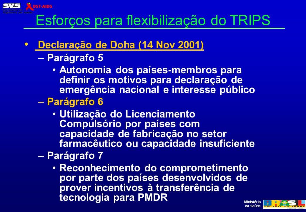 Ministério da Saúde Esforços para flexibilização do TRIPS Declaração de Doha (14 Nov 2001) –Parágrafo 5 Autonomia dos países-membros para definir os m