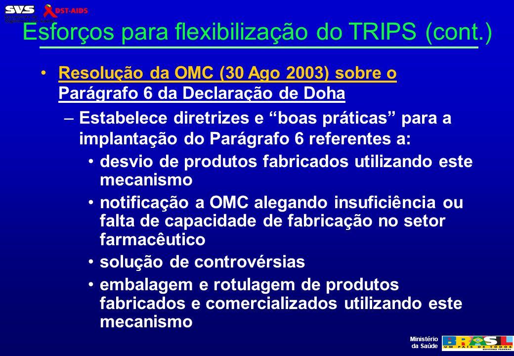 Ministério da Saúde Esforços para flexibilização do TRIPS (cont.) Resolução da OMC (30 Ago 2003) sobre o Parágrafo 6 da Declaração de Doha –Estabelece