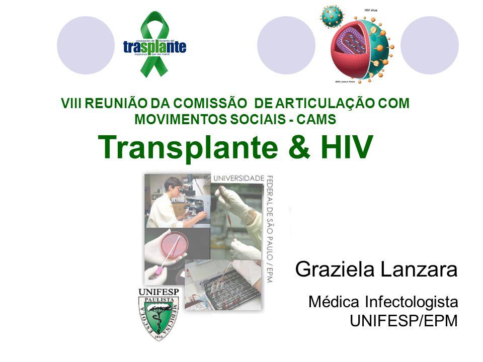 VIII REUNIÃO DA COMISSÃO DE ARTICULAÇÃO COM MOVIMENTOS SOCIAIS - CAMS Transplante & HIV Graziela Lanzara Médica Infectologista UNIFESP/EPM