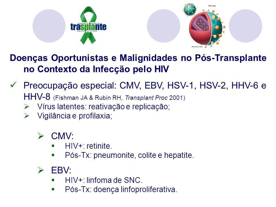 Doenças Oportunistas e Malignidades no Pós-Transplante no Contexto da Infecção pelo HIV Preocupação especial: CMV, EBV, HSV-1, HSV-2, HHV-6 e HHV-8 (Fishman JA & Rubin RH, Transplant Proc 2001) Vírus latentes: reativação e replicação; Vigilância e profilaxia; CMV: HIV+: retinite.