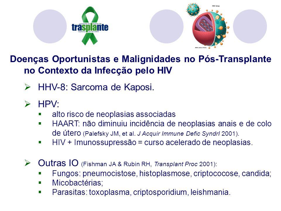 Doenças Oportunistas e Malignidades no Pós-Transplante no Contexto da Infecção pelo HIV HHV-8: Sarcoma de Kaposi. HPV: alto risco de neoplasias associ