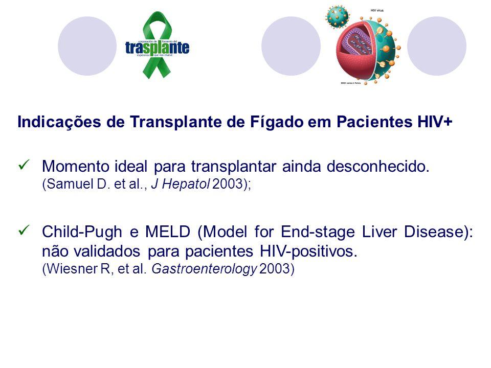Indicações de Transplante de Fígado em Pacientes HIV+ Momento ideal para transplantar ainda desconhecido. (Samuel D. et al., J Hepatol 2003); Child-Pu