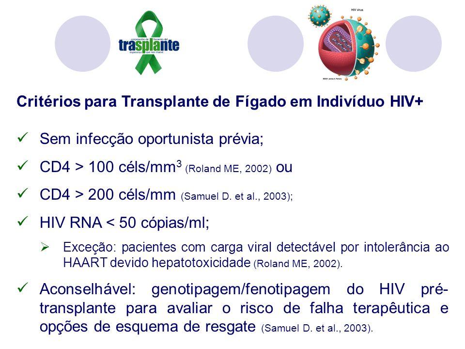 Critérios para Transplante de Fígado em Indivíduo HIV+ Sem infecção oportunista prévia; CD4 > 100 céls/mm 3 (Roland ME, 2002) ou CD4 > 200 céls/mm (Samuel D.