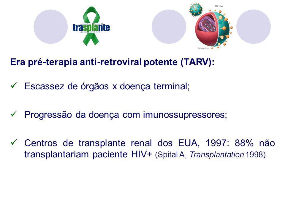 Era pré-terapia anti-retroviral potente (TARV): Escassez de órgãos x doença terminal; Progressão da doença com imunossupressores; Centros de transplante renal dos EUA, 1997: 88% não transplantariam paciente HIV+ (Spital A, Transplantation 1998).
