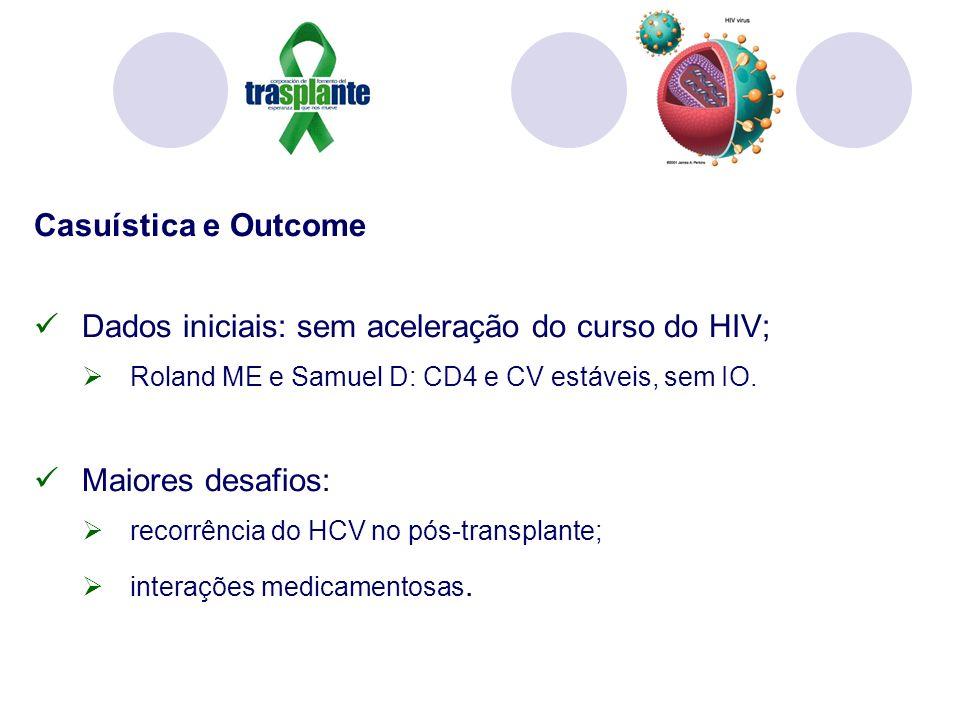 Casuística e Outcome Dados iniciais: sem aceleração do curso do HIV; Roland ME e Samuel D: CD4 e CV estáveis, sem IO. Maiores desafios: recorrência do