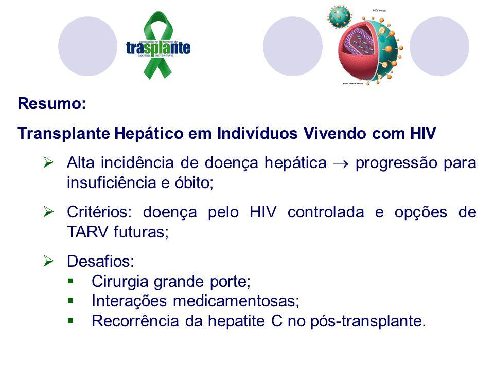Resumo: Transplante Hepático em Indivíduos Vivendo com HIV Alta incidência de doença hepática progressão para insuficiência e óbito; Critérios: doença pelo HIV controlada e opções de TARV futuras; Desafios: Cirurgia grande porte; Interações medicamentosas; Recorrência da hepatite C no pós-transplante.
