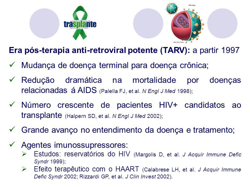 Era pós-terapia anti-retroviral potente (TARV): a partir 1997 Mudança de doença terminal para doença crônica; Redução dramática na mortalidade por doenças relacionadas á AIDS (Palella FJ, et al.