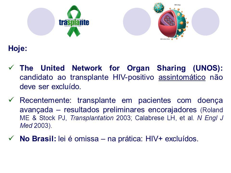 Hoje: The United Network for Organ Sharing (UNOS): candidato ao transplante HIV-positivo assintomático não deve ser excluído. Recentemente: transplant