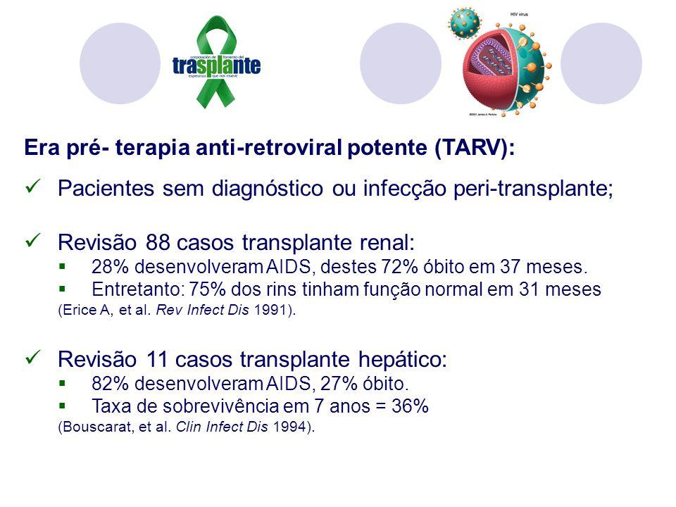 Era pré- terapia anti-retroviral potente (TARV): Pacientes sem diagnóstico ou infecção peri-transplante; Revisão 88 casos transplante renal: 28% desenvolveram AIDS, destes 72% óbito em 37 meses.