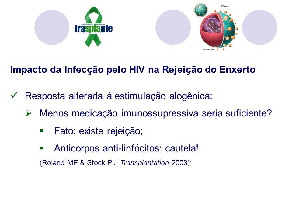 Impacto da Infecção pelo HIV na Rejeição do Enxerto Resposta alterada á estimulação alogênica: Menos medicação imunossupressiva seria suficiente.