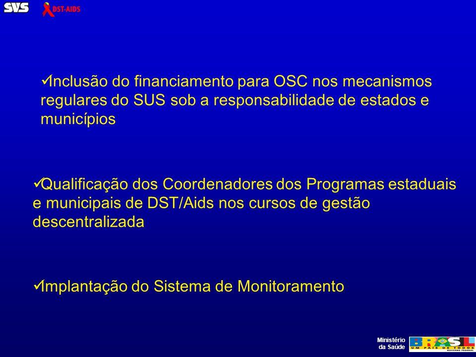 Ministério da Saúde Inclusão do financiamento para OSC nos mecanismos regulares do SUS sob a responsabilidade de estados e municípios Qualificação dos Coordenadores dos Programas estaduais e municipais de DST/Aids nos cursos de gestão descentralizada Implantação do Sistema de Monitoramento