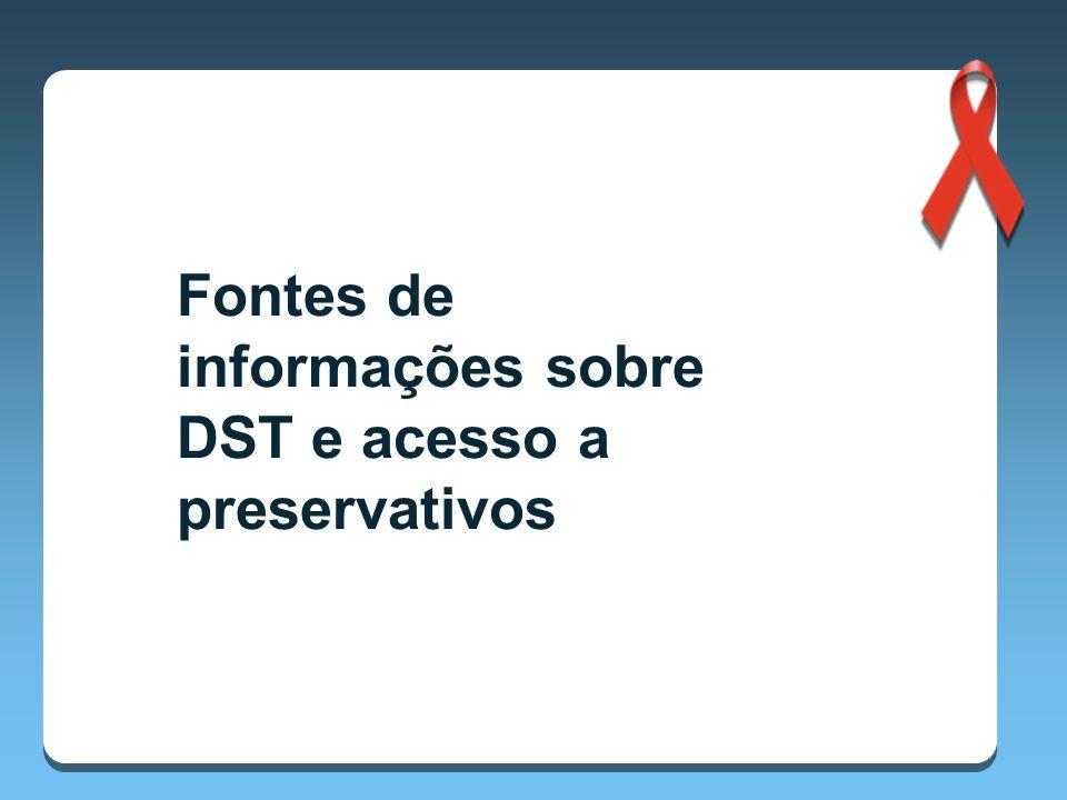 Fontes de informações sobre DST e acesso a preservativos