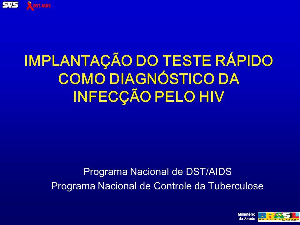 Ministério da Saúde IMPLANTAÇÃO DO TESTE RÁPIDO COMO DIAGNÓSTICO DA INFECÇÃO PELO HIV Programa Nacional de DST/AIDS Programa Nacional de Controle da Tuberculose
