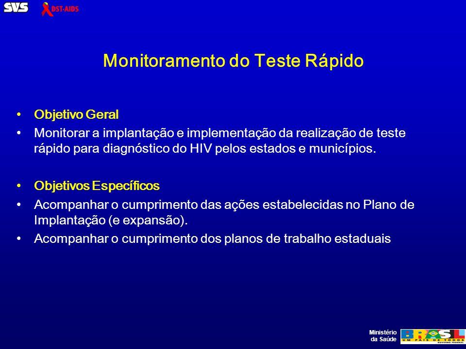 Ministério da Saúde Monitoramento do Teste Rápido Objetivo Geral Monitorar a implantação e implementação da realização de teste rápido para diagnóstico do HIV pelos estados e municípios.