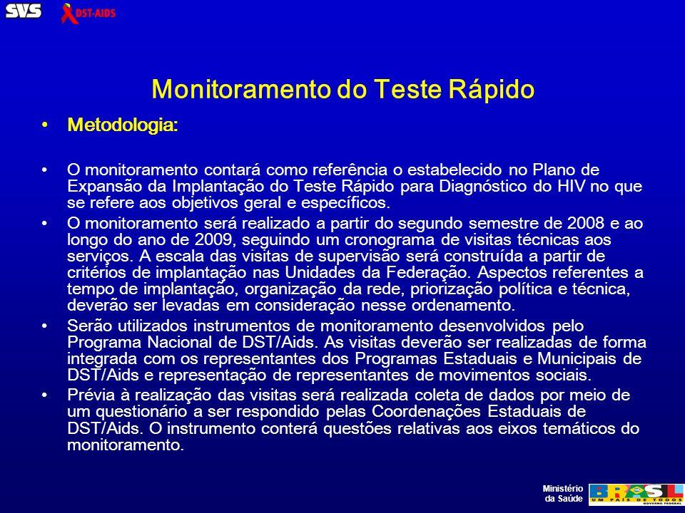 Ministério da Saúde Monitoramento do Teste Rápido Metodologia: O monitoramento contará como referência o estabelecido no Plano de Expansão da Implantação do Teste Rápido para Diagnóstico do HIV no que se refere aos objetivos geral e específicos.