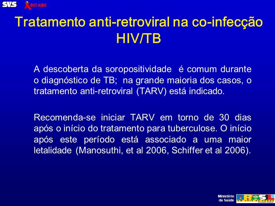 Ministério da Saúde Tratamento anti-retroviral na co-infecção HIV/TB A descoberta da soropositividade é comum durante o diagnóstico de TB; na grande maioria dos casos, o tratamento anti-retroviral (TARV) está indicado.