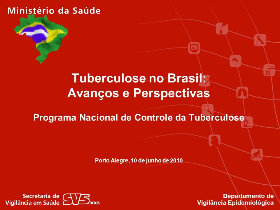 Tuberculose no Brasil: Avanços e Perspectivas Programa Nacional de Controle da Tuberculose Porto Alegre, 10 de junho de 2010 Departamento de Vigilânci