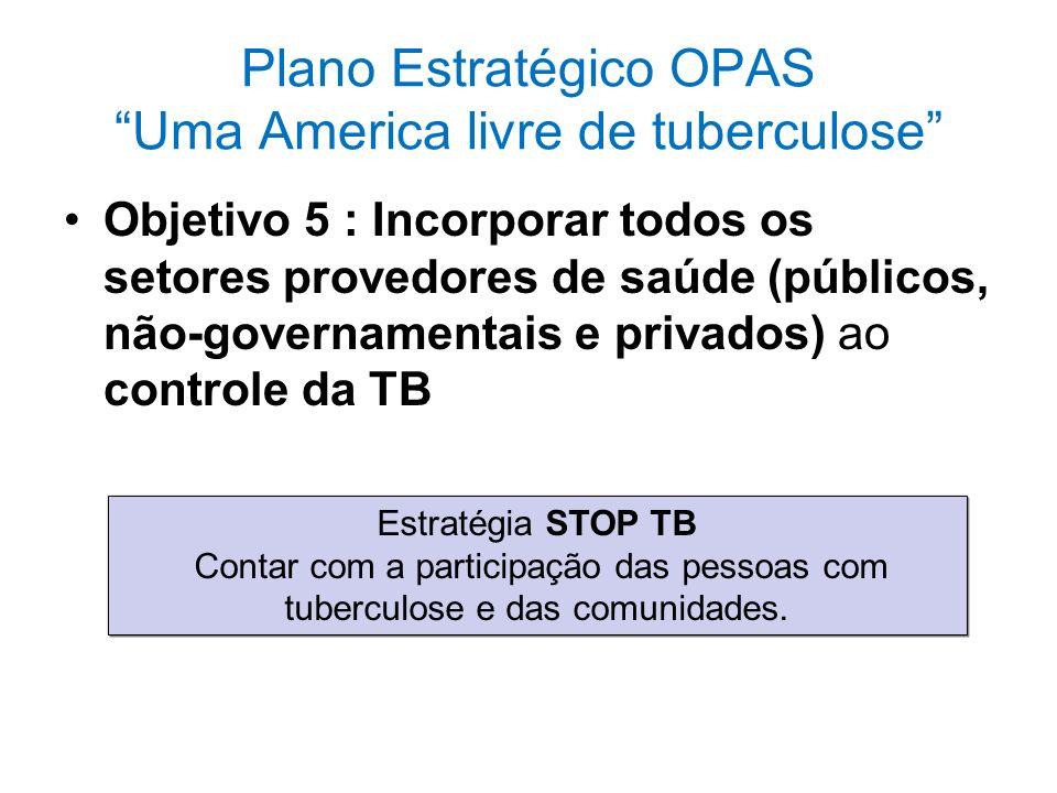 Plano Estratégico OPAS Uma America livre de tuberculose Objetivo 5 : Incorporar todos os setores provedores de saúde (públicos, não-governamentais e p