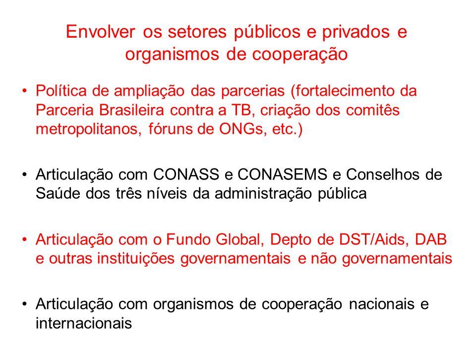 Política de ampliação das parcerias (fortalecimento da Parceria Brasileira contra a TB, criação dos comitês metropolitanos, fóruns de ONGs, etc.) Arti