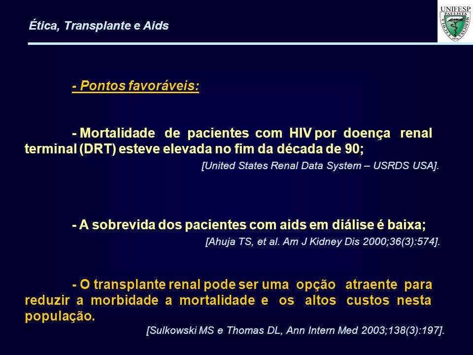 - Pontos favoráveis: - Mortalidade de pacientes com HIV por doença renal terminal (DRT) esteve elevada no fim da década de 90; [United States Renal Da