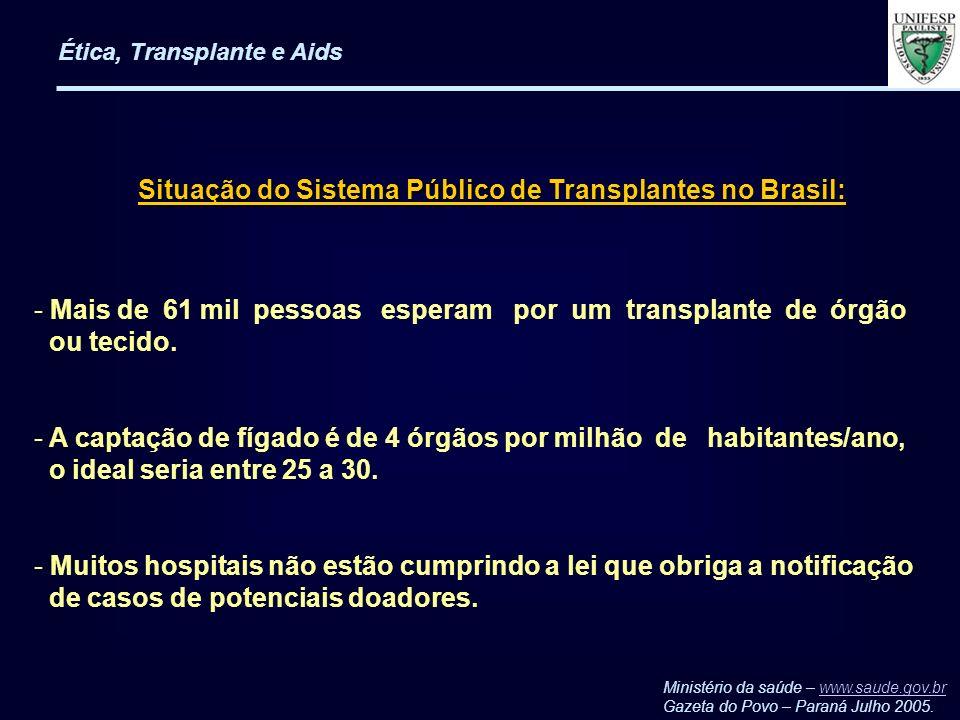 Ética, Transplante e Aids - Mais de 61 mil pessoas esperam por um transplante de órgão ou tecido. - A captação de fígado é de 4 órgãos por milhão de h