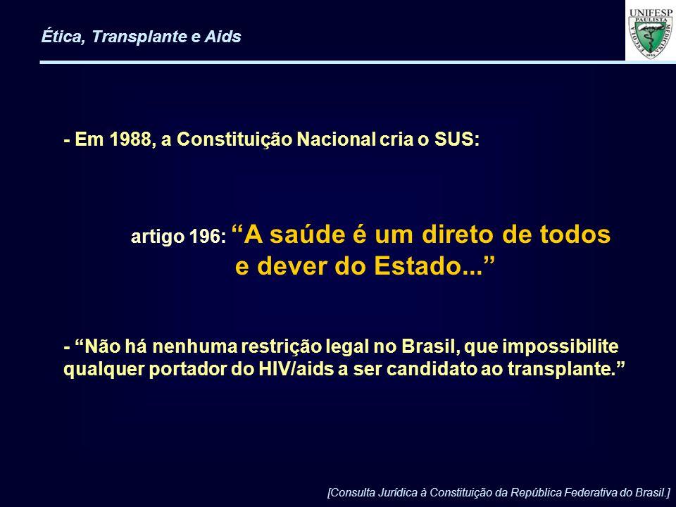 - Em 1988, a Constituição Nacional cria o SUS: artigo 196: A saúde é um direto de todos e dever do Estado... - Não há nenhuma restrição legal no Brasi