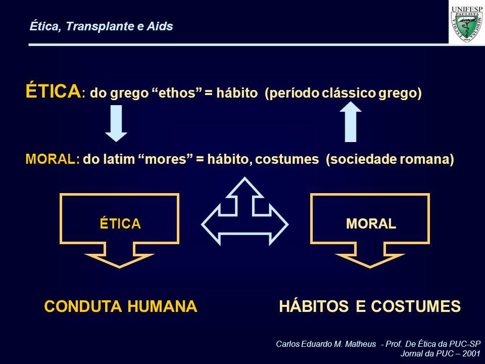 Ética, Transplante e Aids ÉTICA : do grego ethos = hábito (período clássico grego) MORAL: do latim mores = hábito, costumes (sociedade romana) ÉTICA M
