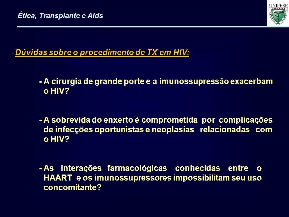 - Dúvidas sobre o procedimento de TX em HIV: - A cirurgia de grande porte e a imunossupressão exacerbam o HIV? - A sobrevida do enxerto é comprometida