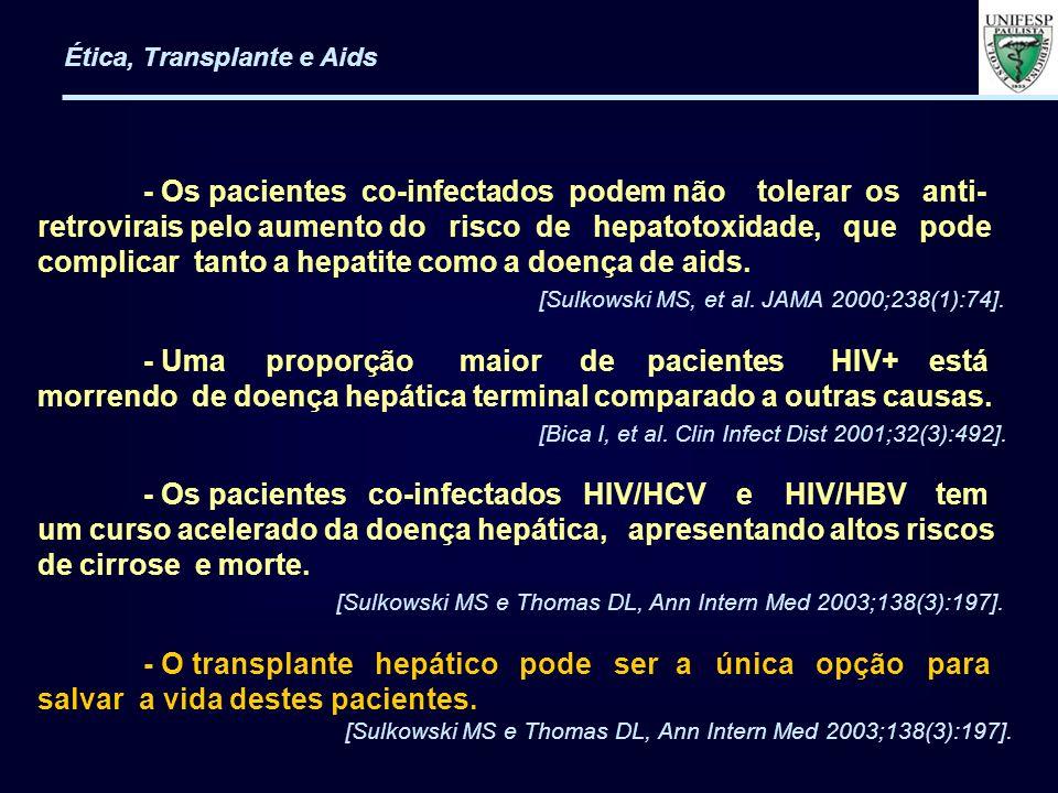 - Critérios Mínimos de Inclusão em Transplante para Portadores de HIV/aids: 1)- Ausência de história de infecção oportunista; 2)- Contagem mínima de CD4 de 200 cel/mm 3 6 meses pré-tx para receptores de rim; 3)- Contagem mínima de CD4 de 100 cel/mm 3 6 meses pré-tx para receptores de fígado; 4)- Carga Viral RNA-HIV menor que 50 cópias/mL 3 meses pré-tx para ambos.