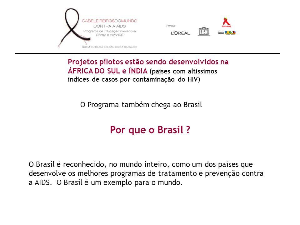 Projetos pilotos estão sendo desenvolvidos na ÁFRICA DO SUL e ÍNDIA (países com altíssimos índices de casos por contaminação do HIV) O Programa também chega ao Brasil Por que o Brasil .