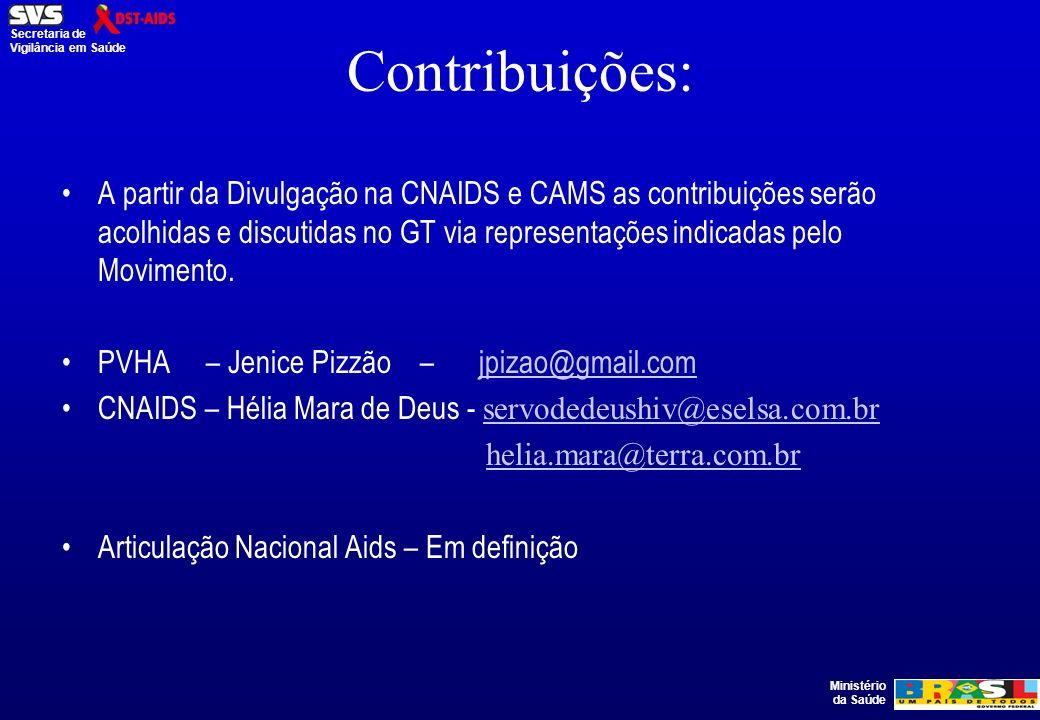 Ministério da Saúde Secretaria de Vigilância em Saúde Contribuições: A partir da Divulgação na CNAIDS e CAMS as contribuições serão acolhidas e discutidas no GT via representações indicadas pelo Movimento.