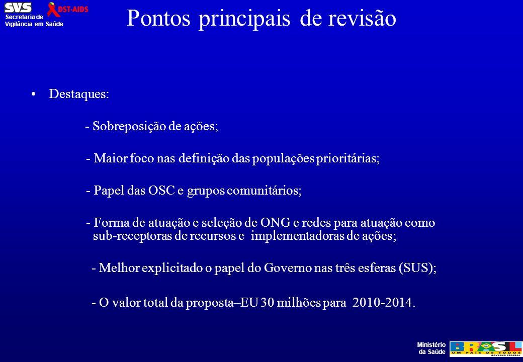 Ministério da Saúde Secretaria de Vigilância em Saúde FG -Ronda 9 Grupo de Trabalho PN-DST/AIDS: Diretoria e Equipe Técnica.