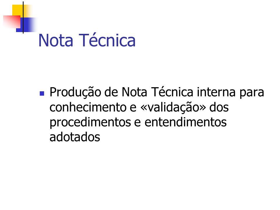 Nota Técnica Produção de Nota Técnica interna para conhecimento e «validação» dos procedimentos e entendimentos adotados